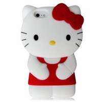 Hello Kitty 3D Silicone Case Cover for New Iphone 5 Xmas gift, RED