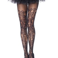 Floral Vine Net Pantyhose (One Size,Black)