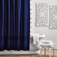 Color On Color Tassel Shower Curtain, Navy