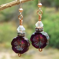 Dark Purple Pansy Flower Earrings, Czech Glass Swarovski Handmade Dangle Jewelry