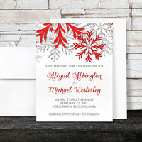 Snowflake Red Winter Save the Date Cards - Red Silver Glitter-Illustrated - Printed Flat Cards