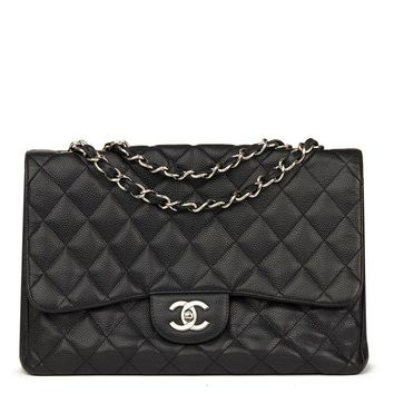 CHANEL BLACK QUILTED CAVIAR LEATHER JUMBO CLASSIC SINGLE FLAP BAG HB1626