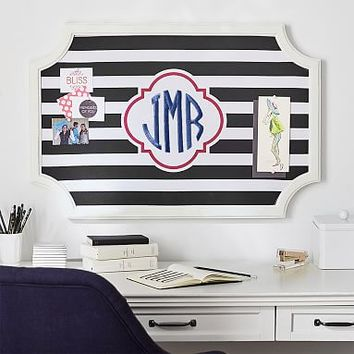 Scallop Framed Monogram Pinboard- Black Stripes