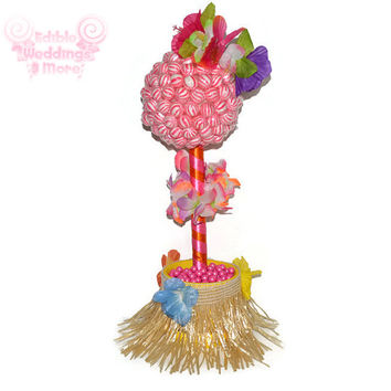 Hula Girl Lollipop Topiary, Hula Girl, Lollipop, Topiary, Centerpiece, Candy, Hawaiian, Candy Buffet, Summer Party, Luau, theme, summer