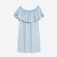 DENIM OFF-THE-SHOULDER DRESS
