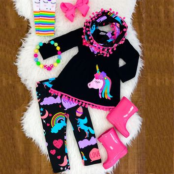 Emmababy Unicorn Baby Girls Clothes Set 2-7Y Kids Baby Girls 2PCS Cartoon Clothes Set Long Sleeve Mini Dress+Long Printed Pants
