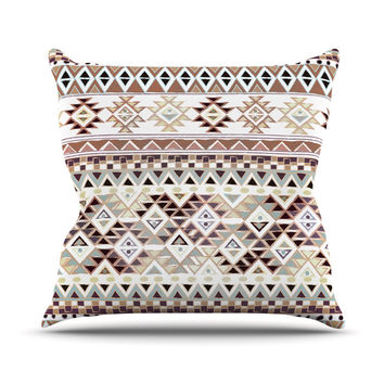 "Nika Martinez ""Tribal Native in Pastel Brown"" Brown Throw Pillow"