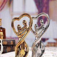 gold silver ceramic lovers home decor crafts room decoration ceramic handicraft ornament porcelain figurines wedding decorations