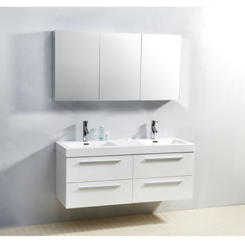 Gloss White Modern Double Bathroom Vanity Set with Poly Marble Sink