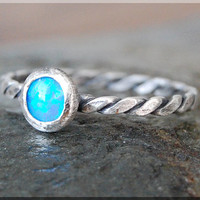 Blue Opal Stacking Ring, Simple Stacking Ring, Dainty Sterling Ring, Stackable Sterling Silver Ring, Silver Opal Stacking ring