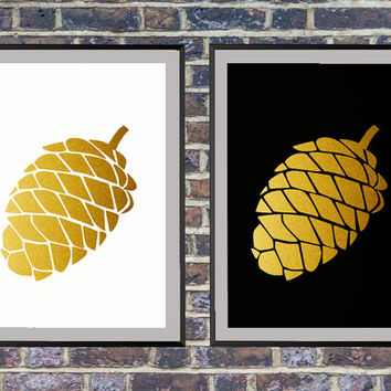 Set of 2 prints for the price of one Gold Pine Cone Print, Abstract Art Print, Black and white Print, Modern Wall Art, Minimalist Print *2*