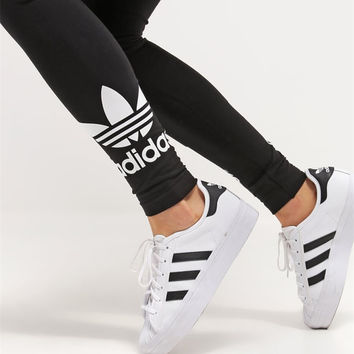 Adidas Women Fashion Black Running Leggings Sweatpants