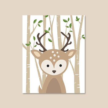 Baby Deer Nursery Decor, Woodland Animal Prints for nursery, Gender Neutral Baby Fawn Art Print, Deer Illustration Poster, Deer Wall Decor