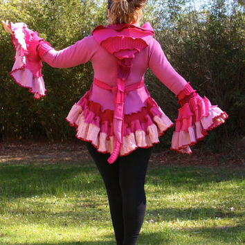 Pink Bustle Coat- Upcycled Sweater Coat with a Medieval Liripipe Hood and Bell Sleeves- by SnugglePants