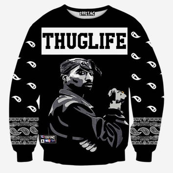 d7c222c51b1 Thug Life Crew Neck Sweatshirt Black 2pac Sweater