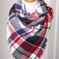 Red/Blue Oversized Plaid Blanket Scarf