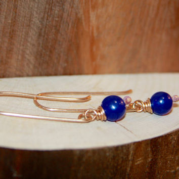 Blue Dangle Earrings, Blue Agate Sterling Silver Long Dangle Earrings by Birch Bark Design, Made in the USA - Vermont