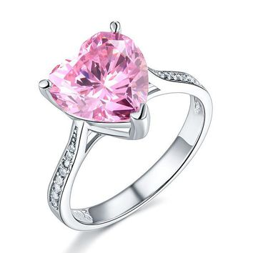 925 Sterling Silver Bridal Engagement Ring 3.5 Carat Heart Pink Simulated Diamond Jewelry