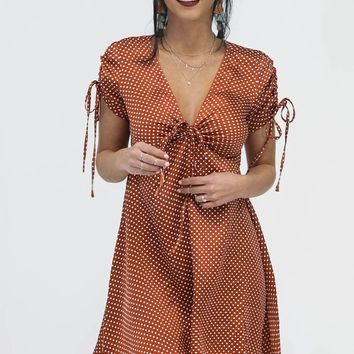 Spare Time Copper Satin Polka Dot Dress