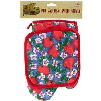 Quilted Fruit & Floral Print Oven Mitt & Pot Holder Set (pack of 18)