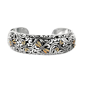 18k Yellow Gold And Sterling Silver DragonFly Cuff Bangle Bracelet