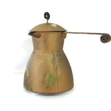 Vintage metal coffee pot , metal pitcher ,middle eastern decor ,metal decor ,metal vase ,metal planter ,oriental vase ,leaves ,gold