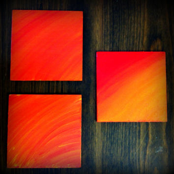 Hand painted Wooden Coasters, Red, Orange