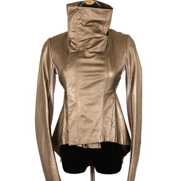 Rick Owens Silver Leather Asymmetrical Jacket