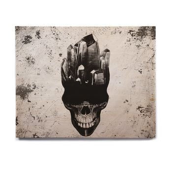 "Ivan joh ""SKULL"" Black White Fantasy Abstract Illustration Painting Birchwood Wall Art"