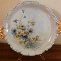 Hertel Jacob Vintage Hand Painted Platter Blue and White Daisies Bavarian China Cake Plate