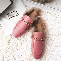 GUCCI Princetown Pink Leather Slipper I