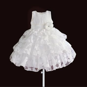 christmas girls dress leaf floral princess kids dresses for wedding party lace layered children clothes size 1-6