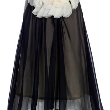 Black & Ivory Chiffon 2 Tier Shift Dress with Back Bow (Girls 2T - Size 14)