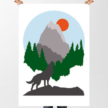 Mountain Print, Howling Wolf Forest Illustration, Modern Abstract Art, Minimalist, Mid Century Modern, Printable Wall Decor, Wolf Print