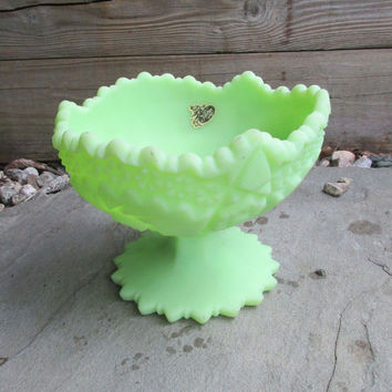 Fenton Hobstar Pinwheel Compote Lime Sherbert Satin Green Footed Bowl