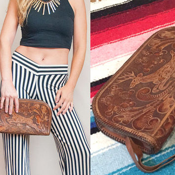 70s Vintage Tooled Leather Clutch Purse | Hippie Boho Chic Deer Leather Handbag | Ethnic Mexican Native Southwestern Bohemian Wristlet Purse