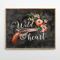 Wild heart, Gypsy soul printable, Boho printable, Bohemian hippie print decor, Gun printable, Gun with flowers wall art, 10 x 8 Landscape
