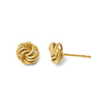 8mm Polished and Textured Love Knot Earrings in 14k Yellow Gold
