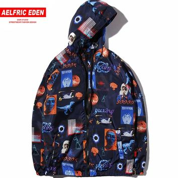 Aelfric Eden Hip Hop Streetwear Jacket Universe Era Print Men Windbreaker Track Jackets Virgin Mary Zipper Hoodie Outwear YE04