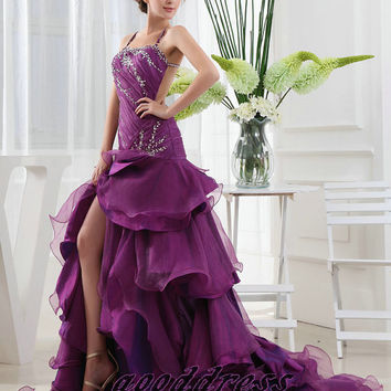 Handmade Custom Sexy Purple Straps Crystal Organza Tiered Backless Formal Long Evening/Prom/Party/Bridesmaid/Homecoming/Cocktail Dress Gown