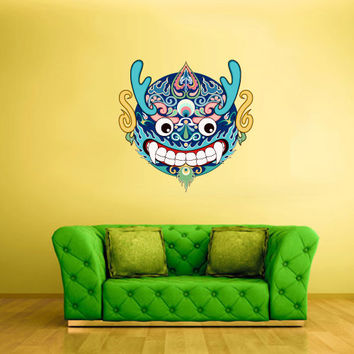 Full Color Wall Decal Mural Sticker Art  Asian Japaneese Japan Dragon Ethnic Mask (col543)