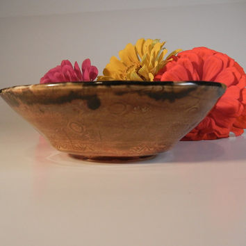 Scrying Bowl Ceramic - gloss black interior, brown patterned exterior