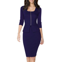 Women Sexy Fall Sheath Dress Square Neck Business Peplum Fitted Casual Bodycon Two Pieces Dresses Women Work Office Wear Clothes