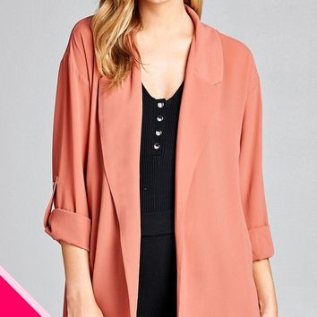 Ladies fashion plus size 3/4 roll up sleeve open front woven jacket