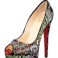 Lady Peep Geek Embroidered Red Sole Pump