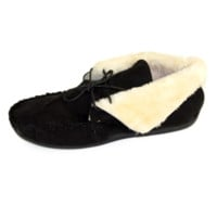 Black Fold Over Moccasin Shoes