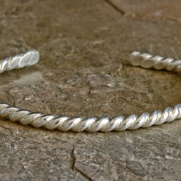 Twisted silver wire cuff bracelet