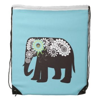 Paisley Elephant Girly Drawstring Bags: Pop Art Animal Design Backpacks