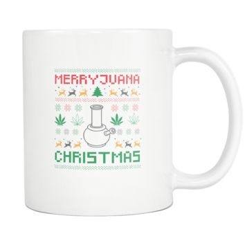 Merry Juana Cannabis Weed Pot Grass Herb Boom Funny Ugly Christmas Holiday Sweater White 11oz Coffee Mug