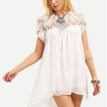 Large Size Lace Patchwork Chiffon Dress B0014480